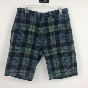 Men's J. Crew Plaid Blue and Green Shorts. Size 32